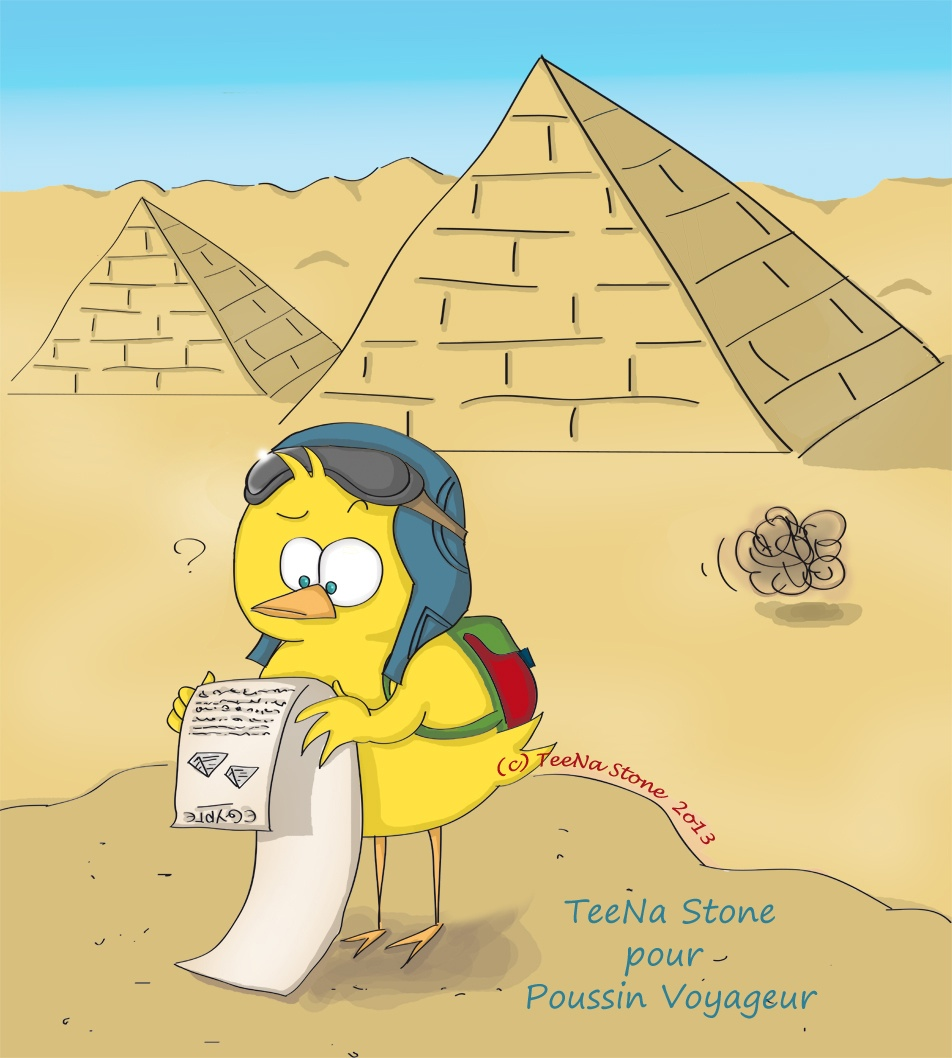 Poussin Voyageur en Egypte par TeeNa Stone