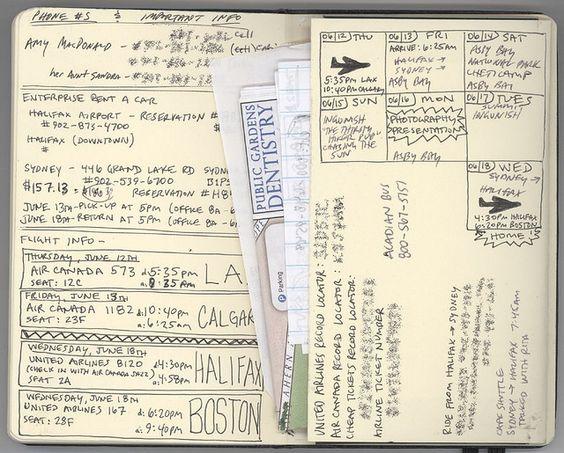 infos écrites à la main des horaires de vol et des billets