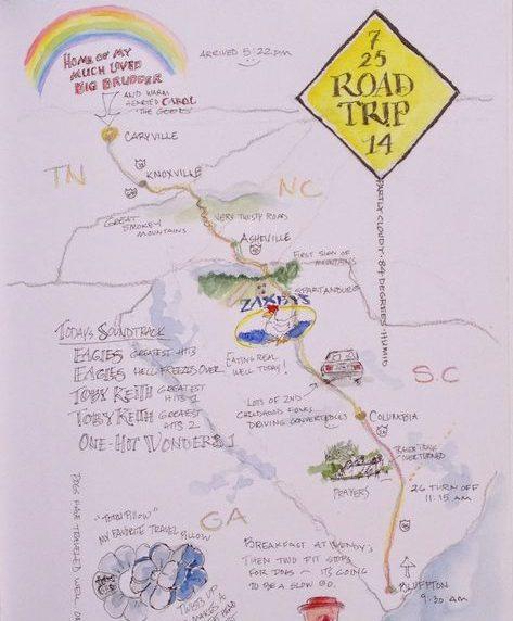 itineraire road trip dessiné sur une page de cahier