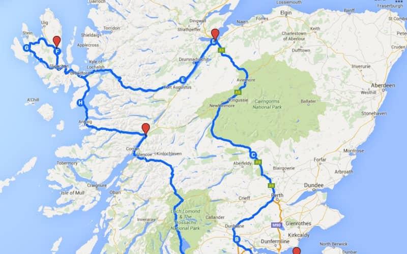 carte ecosse avec itineraire rouge